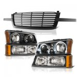 Chevy Avalanche 2003-2006 Black Front Grille and Halo Headlights