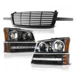 Chevy Silverado 2500HD 2003-2004 Black Front Grille and Halo Headlights LED DRL Bumper Lights