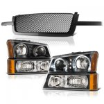 2004 Chevy Silverado 1500HD Black Mesh Grille and Halo Headlights