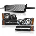 Chevy Silverado 1500 2003-2005 Black Mesh Grille and Halo Headlights LED DRL Bumper Lights