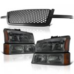 Chevy Silverado 3500 2003-2004 Black Custom Grille and Smoked Headlights