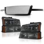 Chevy Silverado 3500 2003-2004 Black Grille Silver Mesh and Smoked Headlights