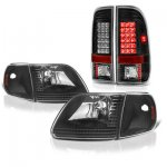 Ford Expedition 1997-2002 Black Headlights Corner Lights and LED Tail Lights
