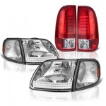 Ford Expedition 1997-2002 Clear Headlights Corner Lights and Red LED Tail Lights