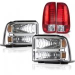 2007 Ford F350 Super Duty Clear Headlights and Red LED Tail Lights