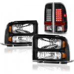 Ford F250 Super Duty 2005-2007 Black Headlights and LED Tail Lights
