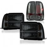 2006 Ford F550 Super Duty Smoked Headlights and LED Tail Lights