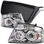 Lincoln Mark LT 2006-2008 Black Mesh Grille and Clear Halo Projector Headlights