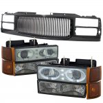 GMC Yukon 1994-1999 Black Grill Smoked LED Halo Projector Headlights Set