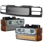 GMC Sierra 1994-1998 Black Grill Smoked Halo Projector Headlights LED DRL