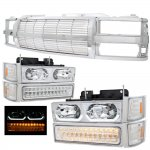 Chevy 2500 Pickup 1994-1998 Chrome Billet Grille and LED DRL Headlights Bumper Lights