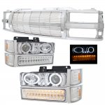 1994 Chevy Silverado Chrome Billet Grille and Halo Projector Headlights LED DRL