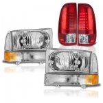 Ford F350 Super Duty 1999-2004 Headlights and LED Tail Lights Red Clear