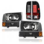 2001 Ford F250 Super Duty Black Headlights and LED Tail Lights