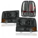 2001 Ford F250 Super Duty Smoked Headlights and LED Tail Lights