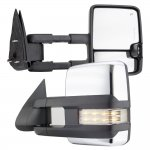 Chevy Silverado 1999-2002 Chrome Towing Mirrors Clear LED Signal Lights Power Heated
