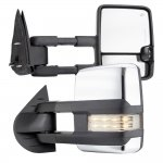 Chevy Silverado 2007-2013 Chrome Towing Mirrors Clear LED Lights Power Heated