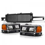 2000 GMC Sierra Black Vertical Grille and Headlights Set