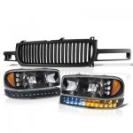 2000 GMC Sierra 2500 Black Vertical Grille and Headlights LED DRL Bumper Lights