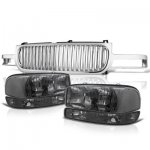 GMC Sierra 1999-2002 Chrome Vertical Grille and Smoked Clear Headlights Set