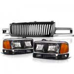2005 GMC Sierra 1500 Black Vertical Grille and Headlights Set
