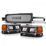 2000 GMC Sierra Black Custom Grille and Headlights Set