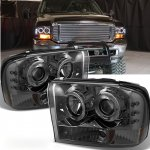 Ford F350 Super Duty 1999-2004 Smoked Dual Halo Projector Headlights
