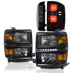Chevy Silverado 2014-2015 Black LED DRL Headlights and Smoked LED Tail Lights Tube Bar