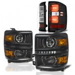 Chevy Silverado 1500 2014-2015 Black DRL Projector Headlights LED Tail Lights Light Bar
