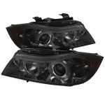 BMW 3 Series E90 Sedan 2006-2008 Smoked Halo Projector Headlights