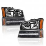 Chevy Avalanche 2003-2006 Black Headlights and LED Bumper Lights