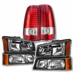 Chevy Silverado 2003-2006 Black Headlights and LED Tail Lights Red Clear