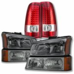 2003 Chevy Silverado Smoked Headlights and LED Tail Lights Red Clear