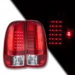 2002 Ford F250 Super Duty Red Clear LED Tail Lights