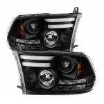 Dodge Ram 2013-2018 Black HID Projector Headlights Tube DRL
