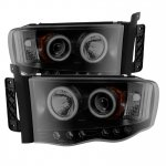 Dodge Ram 2002-2005 Black Smoked CCFL Halo Projector Headlights with LED