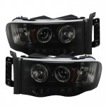 Dodge Ram 3500 2003-2005 Black Smoked Halo Projector Headlights with LED