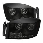 Dodge Ram 2006-2008 Black Smoked Halo Projector Headlights with LED