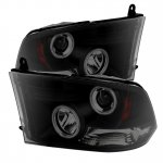 2010 Dodge Ram 3500 Black Smoked CCFL Halo Projector Headlights LED DRL