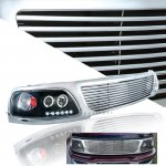 Ford Expedition 1997-1998 Chrome Billet Grille and Black Projector Headlights