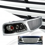 2002 Ford F150 Chrome Billet Grille and Black Projector Headlights