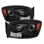 Dodge Ram 2006-2008 Black Halo Projector Headlights with LED