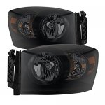Dodge Ram 3500 2006-2009 Black Smoked Headlights