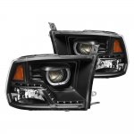 Dodge Ram 1500 2009-2017 Black Halo Projector Headlights LED DRL