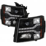 Chevy Silverado 2007-2013 Black Projector Headlights LED DRL Facelift
