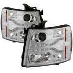 Chevy Silverado 2007-2013 Clear Projector Headlights LED DRL Facelift
