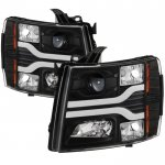 Chevy Silverado 2007-2013 Black Projector Headlights DRL Tube Facelift