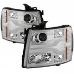 Chevy Silverado 2007-2013 Clear Projector Headlights DRL Tube Facelift