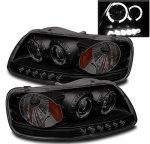 1999 Ford Expedition Black Smoked Halo Projector Headlights LED