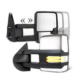 Chevy Silverado 2007-2013 Chrome Towing Mirrors Clear LED DRL Power Heated